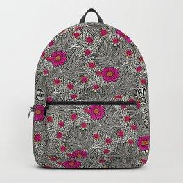 William Morris Marigold, Gray / Grey, and Fuchsia Backpack