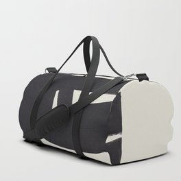 Black & White Minimalist Abstract Shapes Patterns Black Ink Painting Duffle Bag
