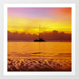 Tropical Sunset and Sailboat Silhouette in South Pacific Art Print