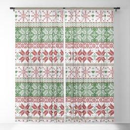 Green & Red Winter Fair Isle Sheer Curtain