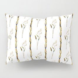 Abstract navy blue gold brown floral stripes Pillow Sham