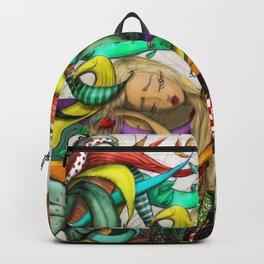 Blond Girl Sleeping Illustration Backpack