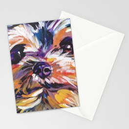 Fun Yorkie Dog Portrait bright colorful Pop Art Painting by LEA Stationery Cards