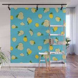 Lemons on Aqua Wall Mural