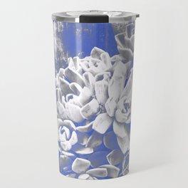 Cobalt & White Hen & Chick Succulents Travel Mug
