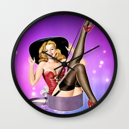 Hat Trick Vintage Pinup Girl Wall Clock