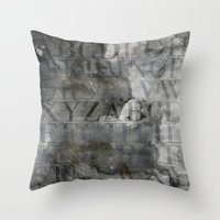 alphabet Throw Pillows featuring Alphabet by cafelab