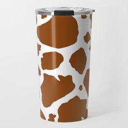 cocoa milk chocolate brown and white cow spots animal print Travel Mug