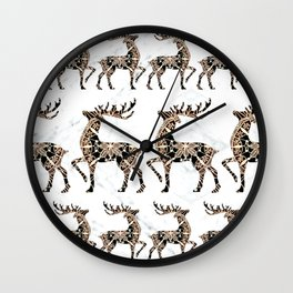 Marbled Black and Rose-Gold Mandala Reindeer Textile Wall Clock