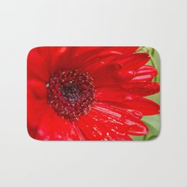 Red Gerber Daisy Bath Mat