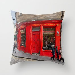 Red Store On Corner Throw Pillow