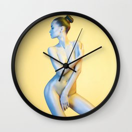 Nude Woman Before Yellow Background Wall Clock