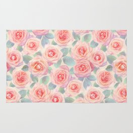 Opal Pink and Peach Painted Roses Rug