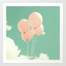 Four Pink Balloons on Mint Sky Art Print