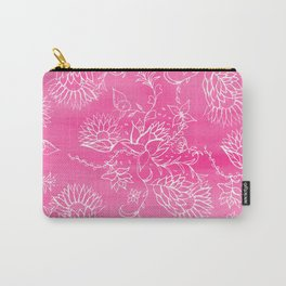 Elegant hand drawn floral pattern pink watercolor Carry-All Pouch