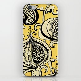 Black and Yellow Floral iPhone Skin
