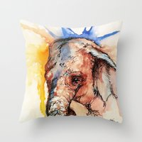 africa Throw Pillows featuring Africa by Abigail Leigh