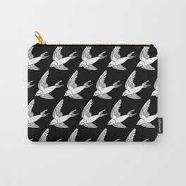 Linocut Swallow bird pattern black and white birds minimal gender neutral nursery Carry-All Pouch