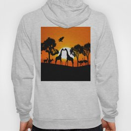 Giraffe silhouettes at sunset Hoody