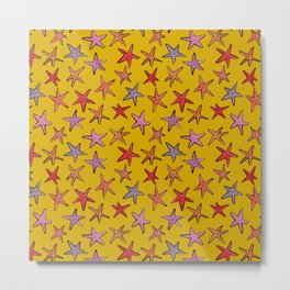 Starfishes in mustard background Metal Print