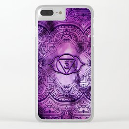 Cosmic Purple 3rd Eye Chakra  Tapestry Clear iPhone Case