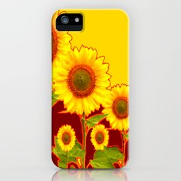 YELLOW-BURGUNDY COLOR SUNFLOWER ART iPhone Case