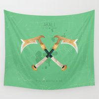 league Wall Tapestries featuring League of Legends: Akali by Monstruonauta