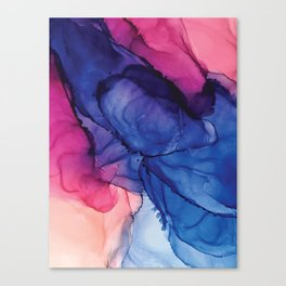Pondering- Blue and Blush- Alcohol Ink Painting Canvas Print