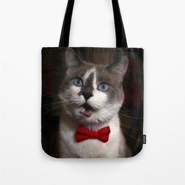 Cat in a bowtie, screaming Tote Bag