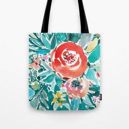 IN FLOW FLORAL Orange Watercolor Rose Tote Bag