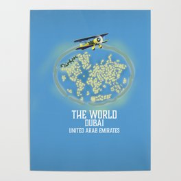 The World, Dubai United Arab Emirates map Poster