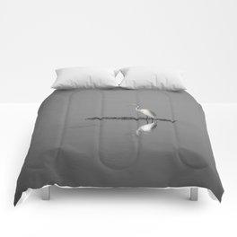 """Mirrored Egret"" by Murray Bolesta Comforters"