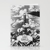 lotr Stationery Cards featuring Lord of the Rings Mordor Tower Vintage Geek Art by Barrett Biggers