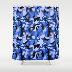 Blue and Black Water Pixel Camo pattern Shower Curtain