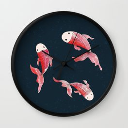 Digital painting of Koi fishes in dark spotty background Wall Clock