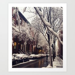Photo of the beautiful Brooklyn Heights covered in icy snow Art Print