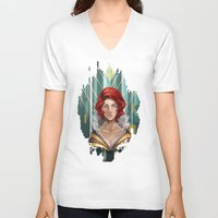 transistor V-neck T-shirts featuring We All Become by Countmoopula