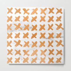 Valentines Day - Bronze Copper Gold Marble X Pattern Metal Print