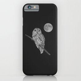 Owl, See the Moon (bw, sq) iPhone Case