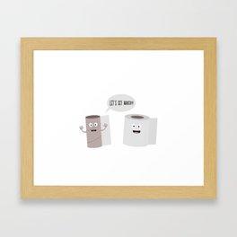 Toilet roll tissue cartoon Framed Art Print