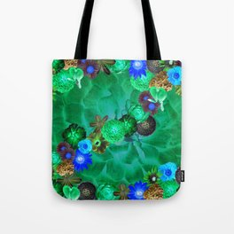 Flower explosion in green and blue Tote Bag