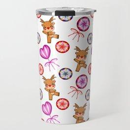 Funny dancing red-nosed baby reindeer, vintage candy lollipops. Cute Christmas nursery pattern Travel Mug