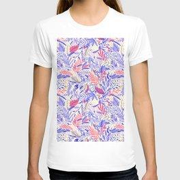 Botanical lavender blue coral hand painted floral leaves T-shirt