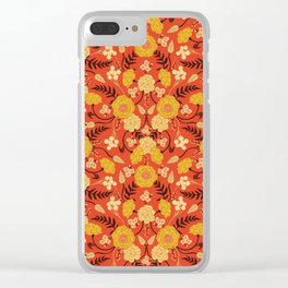 Vibrant Orange, Yellow & Brown Floral Pattern w/ Retro Colors Clear iPhone Case
