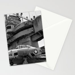 Warbird Up Top On The USS.Hornet BW Stationery Cards
