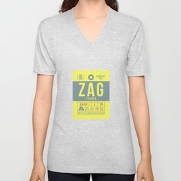 Baggage Tag B - ZAG Zagreb Croatia Unisex V-Neck