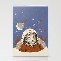 soviet Stationery Cards featuring Soviet Space Cat by Chris Kawagiwa