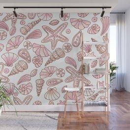 Millennial pink seashells Wall Mural