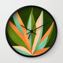 Colorful Agave / Painted Cactus Illustration Wall Clock