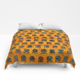 Maya Calendar Glyphs pattern orange and blue Comforters